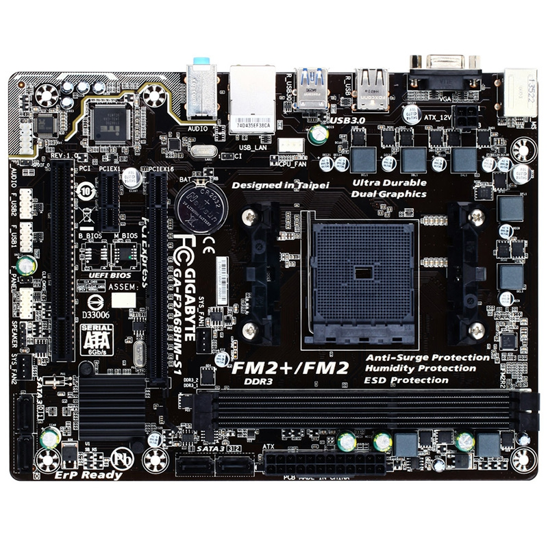 技嘉 F2A68HM-S1 主板 AMD A68H FM2+接口